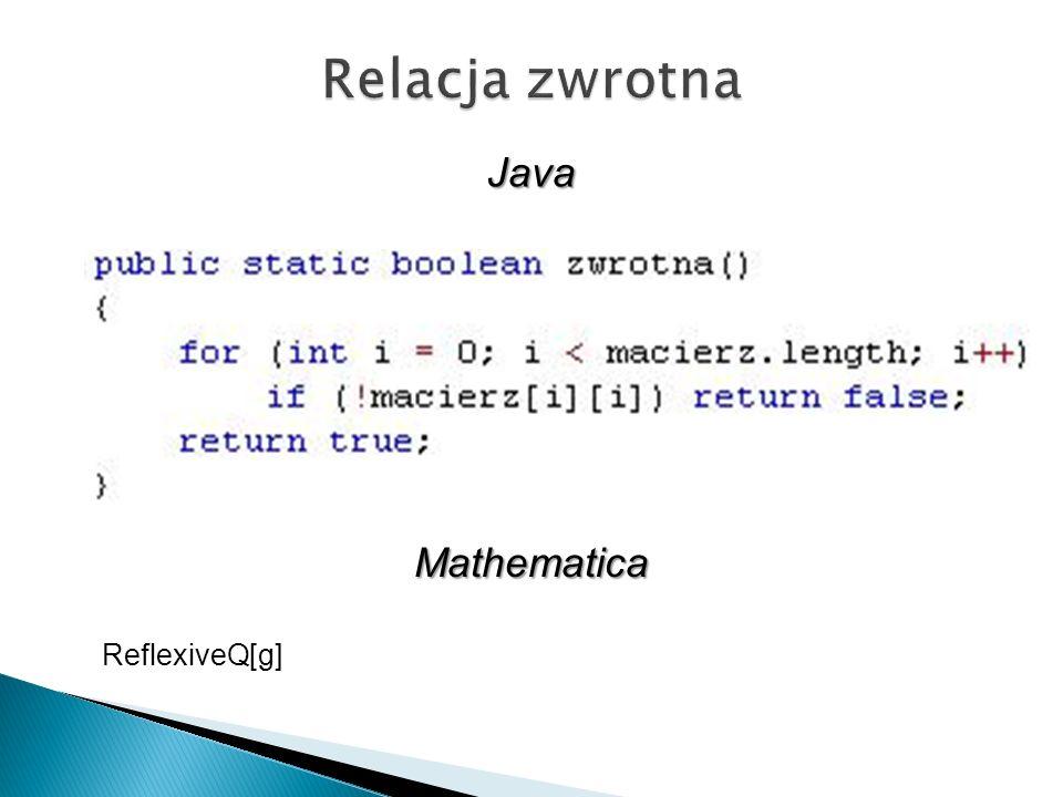 Relacja zwrotna Java Mathematica ReflexiveQ[g]